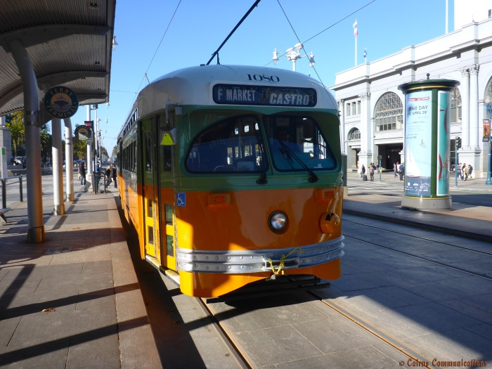 F LineTrolley Car at Ferry Building bound for Castro