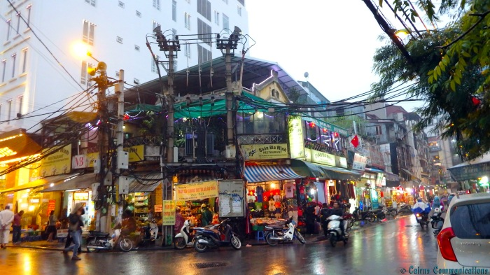 Hanoi wet street scene