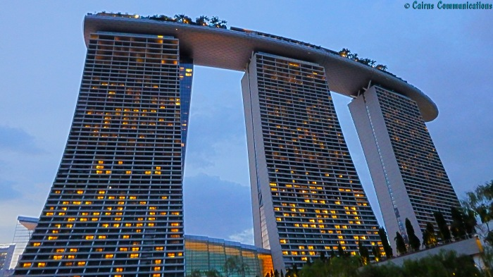 Marina Bay Sands resort at nightfall
