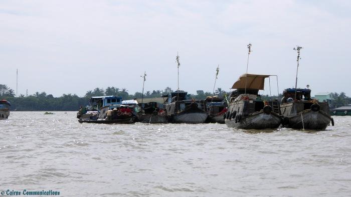 Mekong Delta River Market Boats